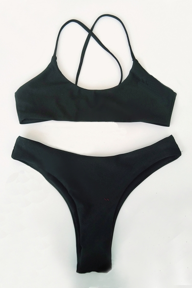 Straps Bikini Crisscross Back Spaghetti Plain q6w7wT