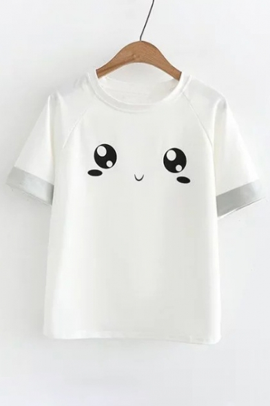 Cute Tee Color Sleeve Block Neck Eyes Round Printed Short rSzr8