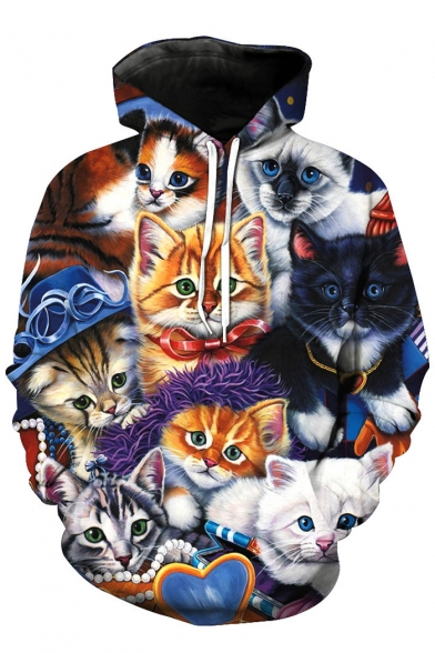 Digital Cats Printed Long Sleeve Hoodie