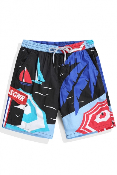 Hot Black Color Block Palm Print Swim Trunks with Drawcord without Liner
