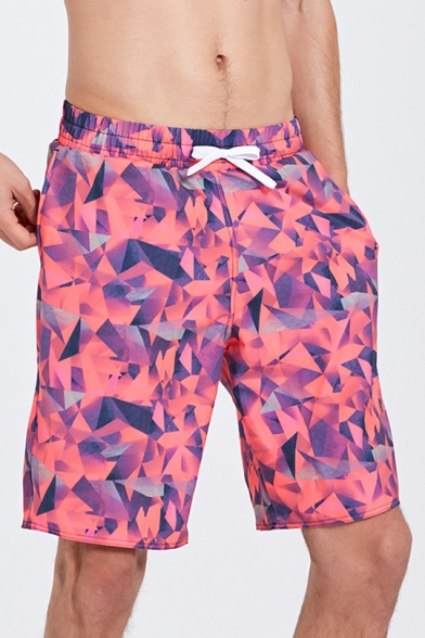 New Designer Mens Summer Pink Geo Print Swimming Shorts Trunks with Mesh Liner