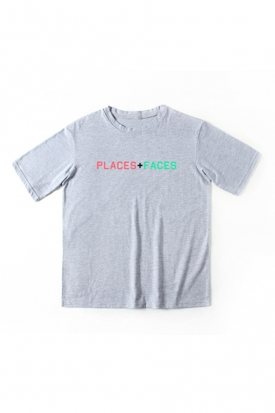 PLACES Tee Sleeve Short FACES Round Neck Printed qYSrq