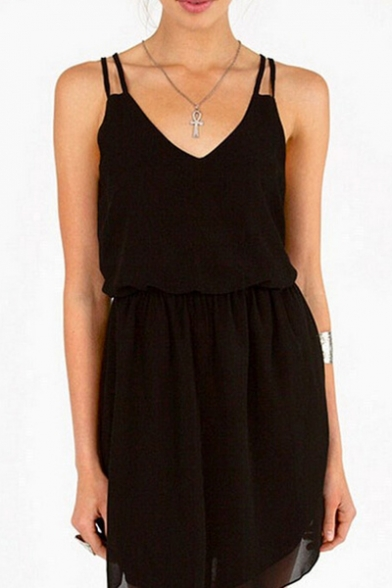 Plain Elastic Waist Spaghetti Straps Sleeveless Mini Cami Dress