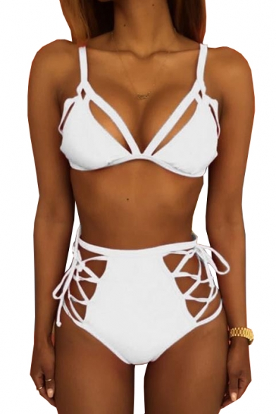 Sexy Hollow Out Plain Spaghetti Straps High Waist Bottom Bikini
