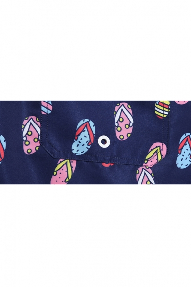 Trendy Mens Navy Blue Flip Flops Pattern Swim Beach Shorts with Hook and Loop Pockets