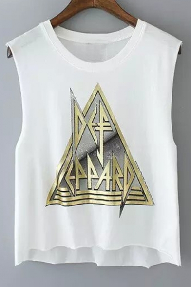 Sleeveless Printed Tank Round Crop Triangle Letter Neck nIxqR5zwT