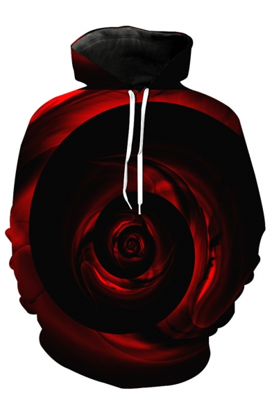 Sleeve Long Printed Rose 3D Hoodie tPUqx6Ew