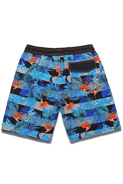 Blue Men's Popular Drawcord Floral Striped Pattern Swim Trunks with Liner and Pockets