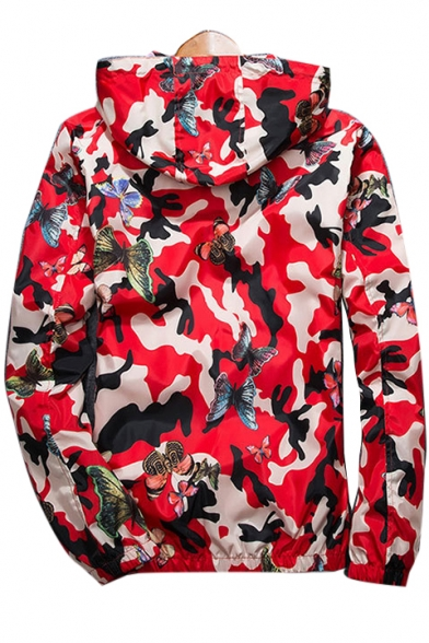 Butterfly Camouflage Printed Long Sleeve Zip Up Hooded Sun Proof Coat