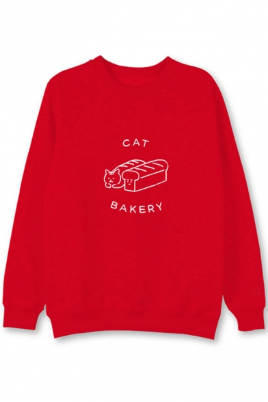 Bread Long Printed Neck Sleeve Cat Round Sweatshirt 805IqwIdx