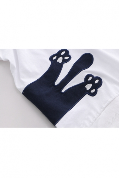 Applique Cat Embroidered Sleeve Round Neck Tee Short 5q0pqAfw