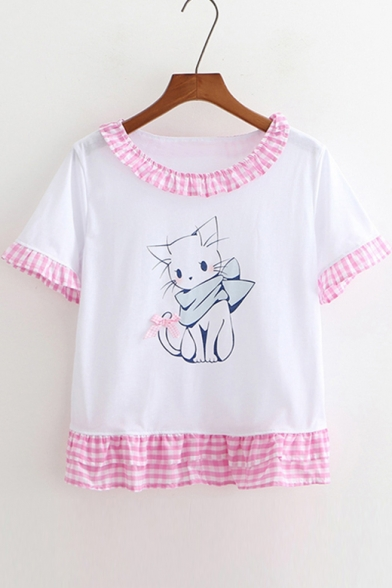 Round Trim Neck Short Block Plaid Color Printed Tee Sleeve Cat XxvqI0w8