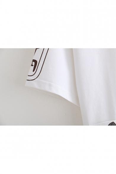 Round Neck Cat Pendant Tassel Tee Chinese Sleeve Embellished Short Printed dXxBUYU