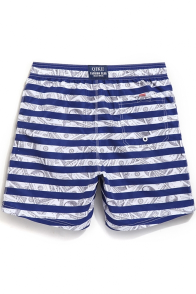 519085c8b9 ... Cool Elastic Drawstring Men's Navy Blue and White Striped Money Dollar  Print Swim Trunks with Pockets ...