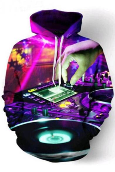 Printed Long Hoodie DJ Hand Digital Sleeve xUZ1gw
