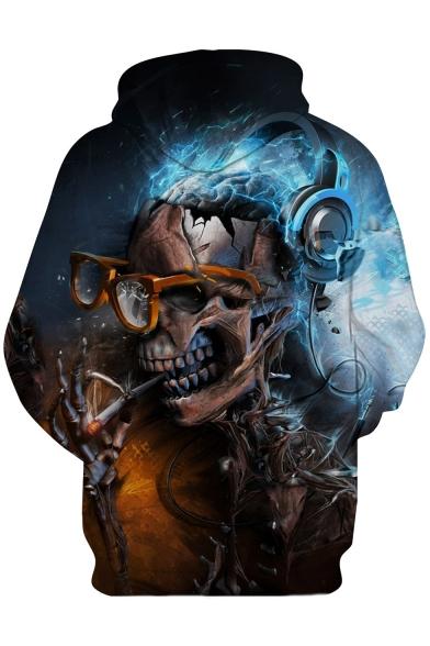 Skull Sleeve Printed DJ Hoodie Long tqxaZOPd