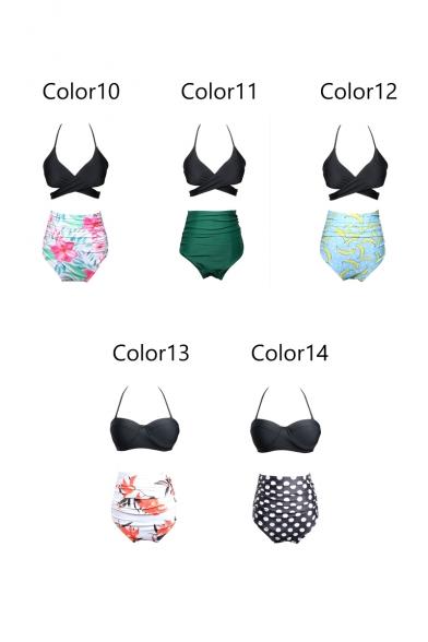Fashionable Printed High Waist Bottom Halter Ruffle Detail Top Bikini