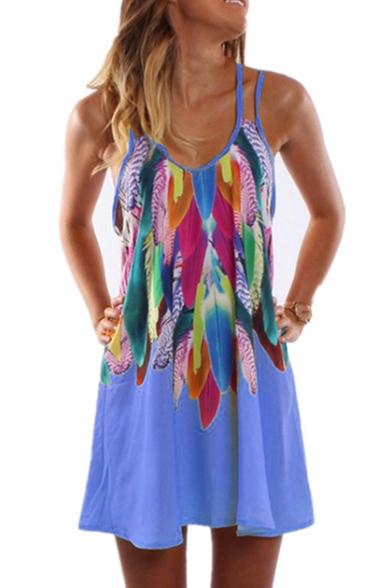 Feather Printed Spaghetti Straps Sleeveless Mini Cami Dress