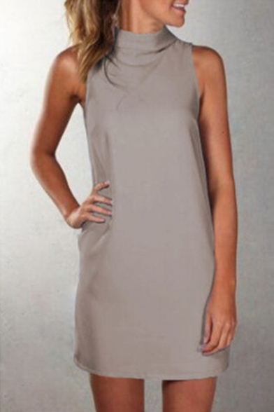 Sleeveless Dress Neck Plain Line Mini A High 5BPAqYwY