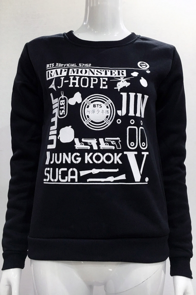 Neck Sleeve Letter Sweatshirt Gun Printed Long Round qqt4BZ