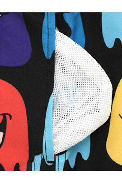 Men's Drawstring Black Cartoon Pattern Beach Trunks with Mesh Brief and Pockets