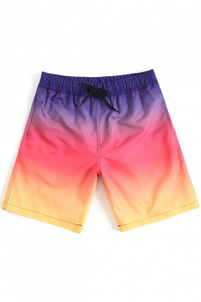 Purple and Pink Ombre Color Block Swim Trunks with Mesh Liner and Pockets