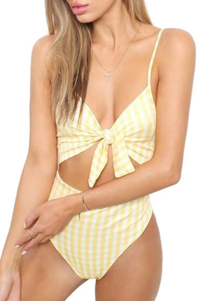 Spaghetti Plaid Printed Tied Hollow Straps One Swimwear Front Out Piece 557rdq4xw