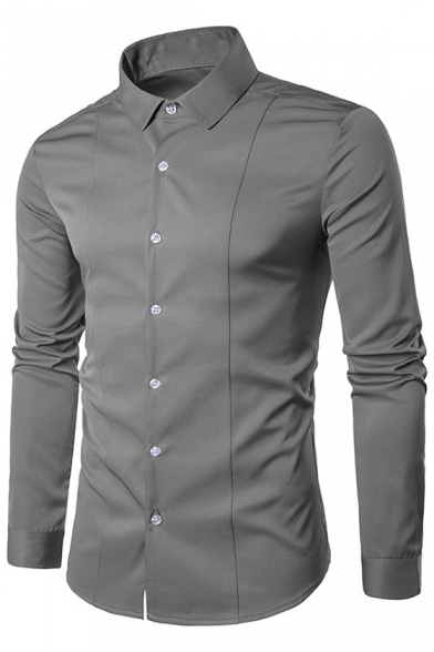 Buttons Shirt Long Slim Sleeve Lapel Plain Casual Collar Down HIwfggq