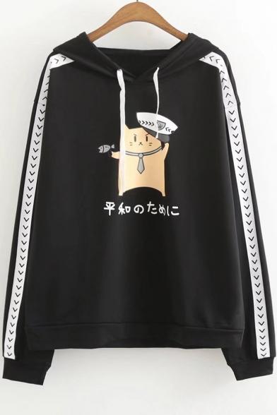 Police Cat Japanese Printed Long Sleeve Hoodie