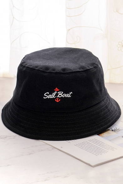 2069cc4b SAIL BOAT Letter Embroidered Bucket Hat - Beautifulhalo.com