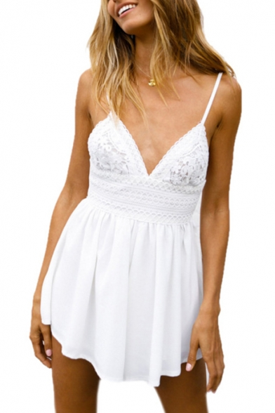 Spaghetti Straps Sleeveless Crochet Embellished Tied Back Romper