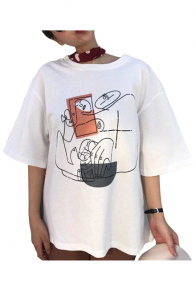 Printed Graffiti Round Neck Abstract Tee Short Sleeve 5gHZHxwq