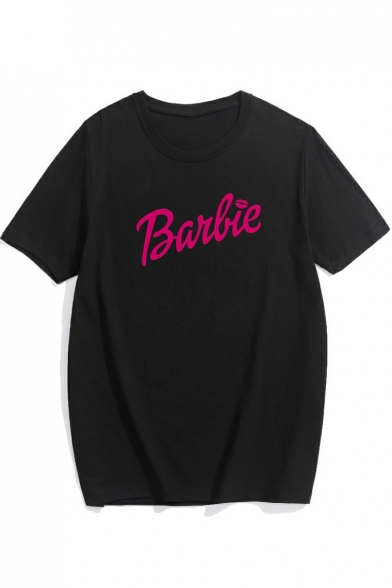 BARBIE Letter Printed Round Neck Short Sleeve Tee