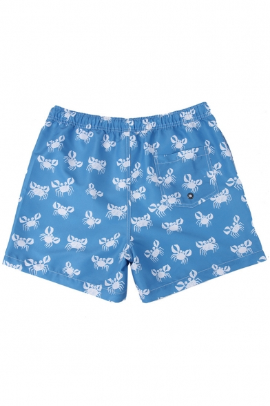 Blue Short Summer Crab Pattern Swimming Trunks for Guy without Liner with Drain Hole