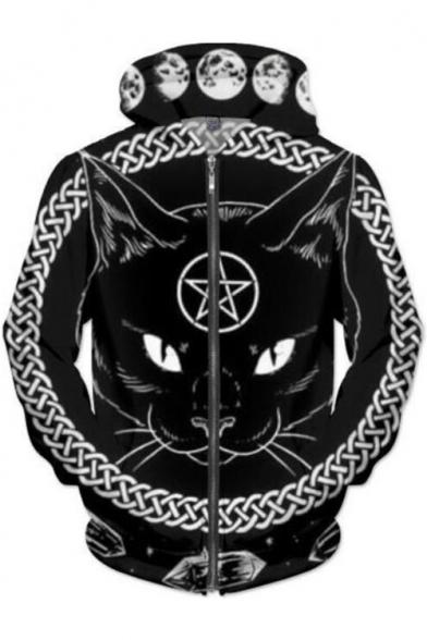 Cat Moon Pentagram Pattern Zip Up Long Sleeve Hoodie