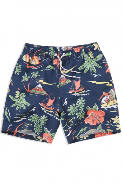 3c66141b64f59 Cool Mens Navy Blue Floral Island Print Swim Trunks with Lined Side Pockets  ...