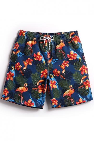 Fashion Navy Blue Fast Drying Floral Flamingo Tropical Printed Drawstring Bathing Shorts Men with Mesh Brief