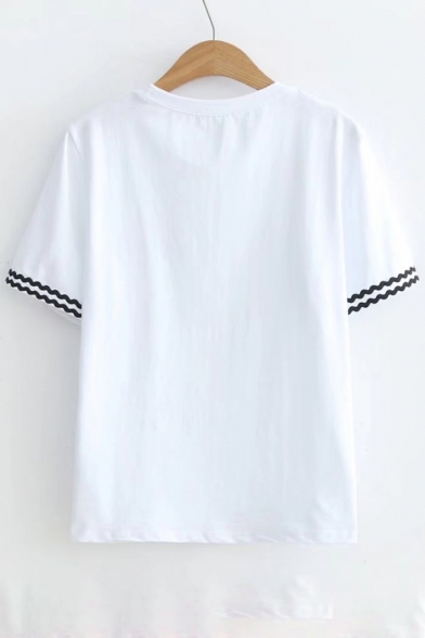 Letter Braid Round Short Printed Sleeve Neck Fish Tee Contrast AzndAO