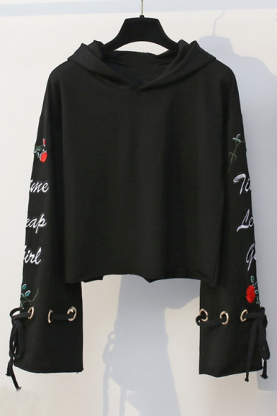 Sleeve Floral Hoodie Embroidered Crop Grommet Long Letter Drawstring qXOXf7w