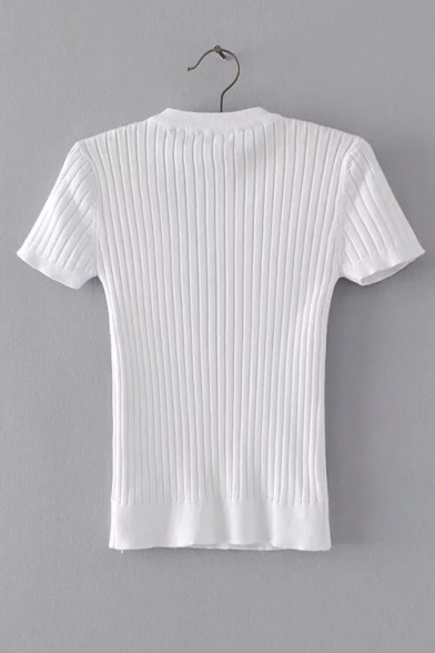 Lace Front Up Knit Neck Tee Round Out Hollow Ribbed Short Sleeve qCU75W