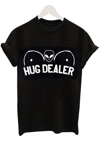 HUG Round Sleeve Printed Alien Neck Short Tee DEALER B4rwBpqnvx