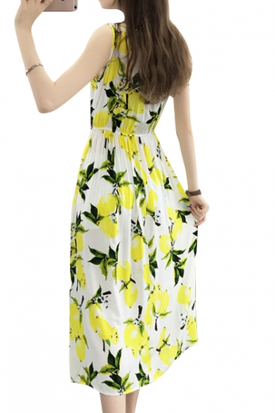 Sleeveless Neck Line Round Dress Printed Maxi A Lemon vnq6w4txRR