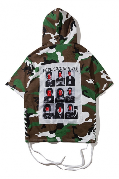 Character Short Hooded Camouflage Sleeve Printed Letter Tee Czndxqqw
