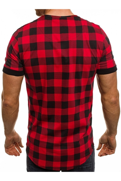 Plaid Short Tee Slim Printed Neck Sleeve Letter Round dgqABwxv1