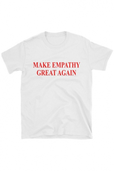 Printed Tee EMPATHY Round Letter Neck Sleeve MAKE Short 0aqgwTE