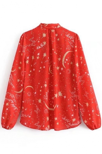 Tied Front Moon Sleeve Star Long Printed Blouse wX8qOgIF