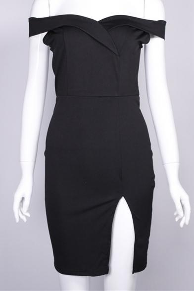 Off The Shoulder Short Sleeve Plain Split Front Midi Bodycon Dress