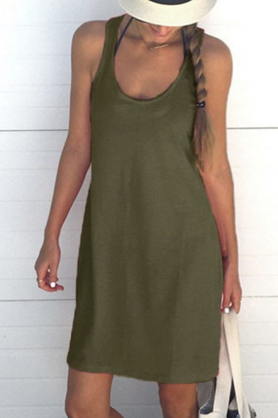Neck Round Mini Cami Dress Sleeveless Plain ycR6x0ZUgn
