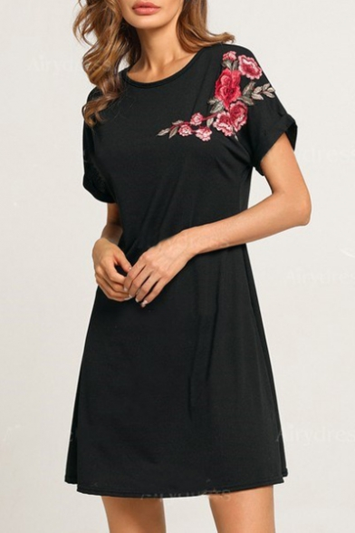 Round Neck Short Sleeve Floral Embroidered Mini A-Line Dress