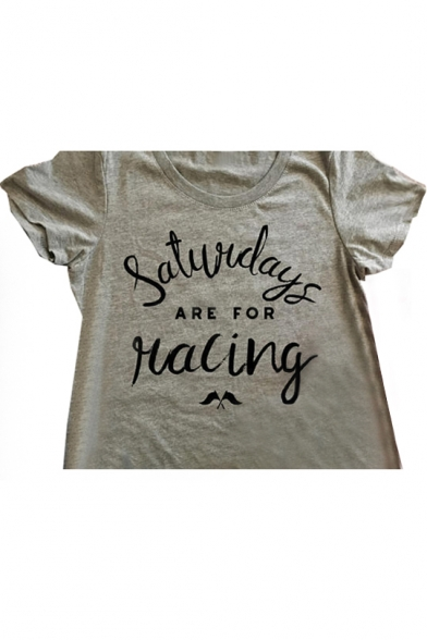 RACING SATURDAY Sleeve Letter Flag FOR Short Neck Round Tee Printed ARE 4gqwT4CF